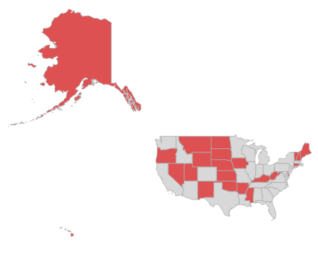The total population of all the red states is equal to the number of people without health coverage in the US.