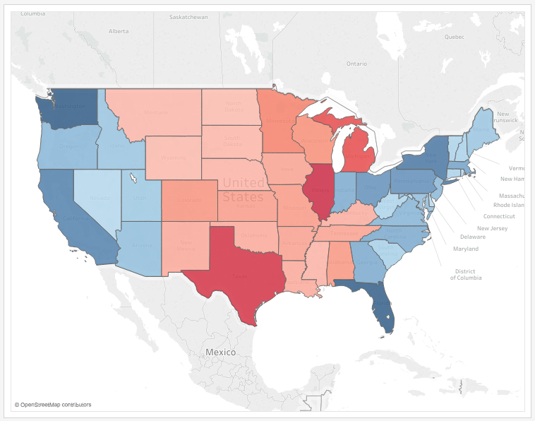 Two Sequential Color Palettes on the Same Map: Coloring by a ... on blue nile state map, america red blue county map, blue 3d usa map,