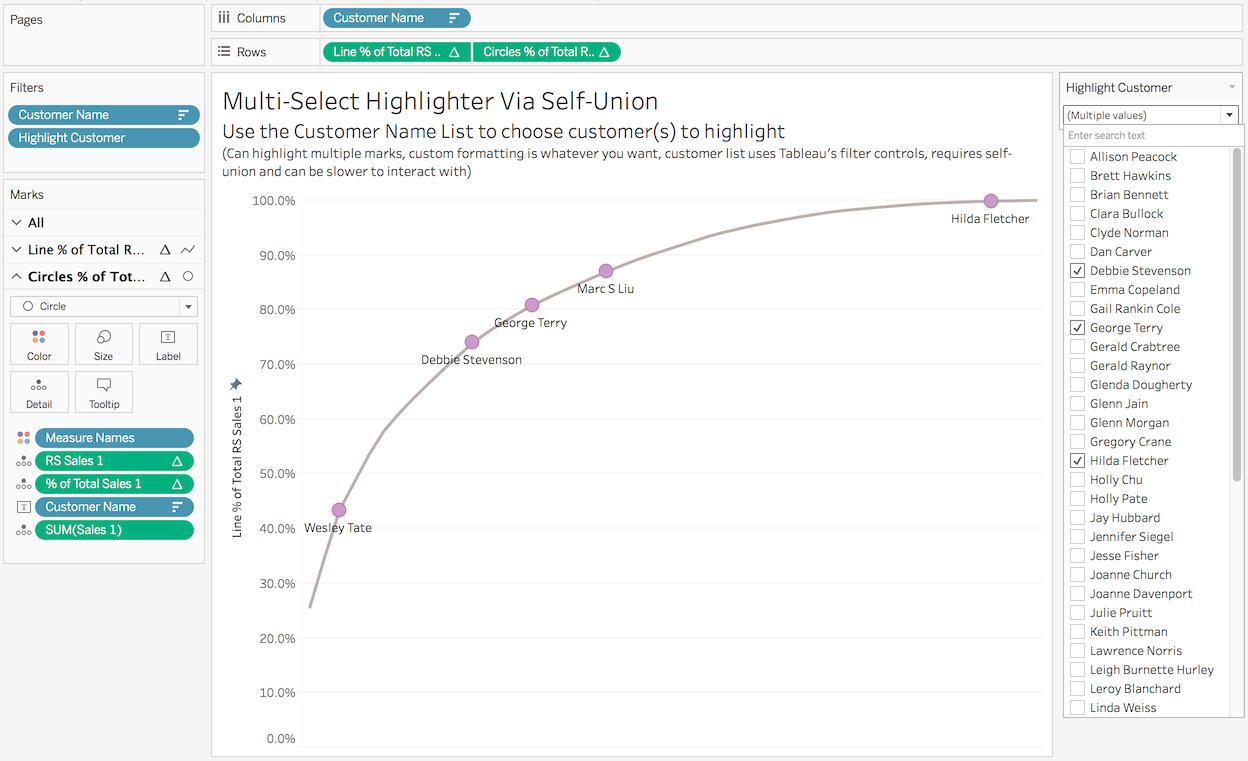 Multiple ways to multi select and highlight in tableau drawing drag the highlight measure into the view format the marks as desired create a dual axis synchronize the axis turn off show header etc nvjuhfo Gallery